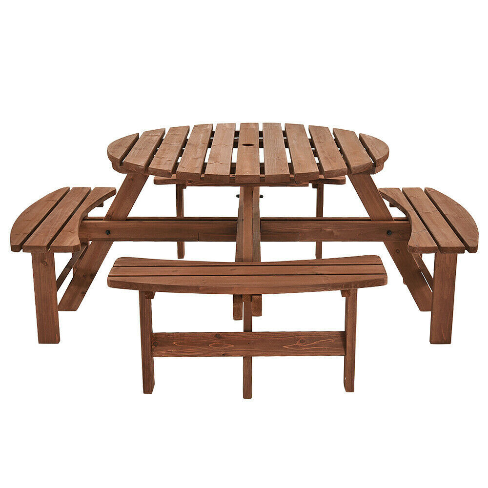 Garden Patio Wooden Pub bench Round Picnic Table and chair Outdoor furniture set