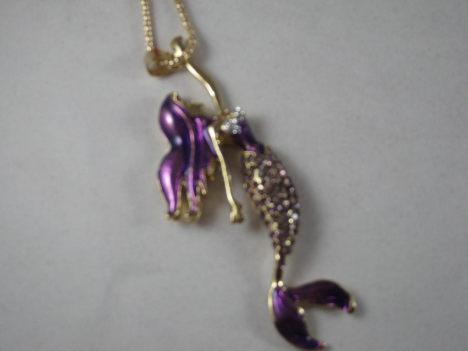 NEW Betsey Johnson Purple Rhinestone  Mermaid Pendant on Long Chain