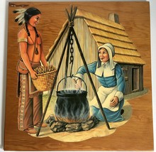 "Thanksgiving Die Cut Decoupage Wood Plaque Pilgrim Indian 15"" Vtg Mid Ce... - $49.49"