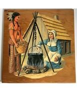"""Thanksgiving Die Cut Decoupage Wood Plaque Pilgrim Indian 15"""" Vtg Mid Ce... - $39.59"""