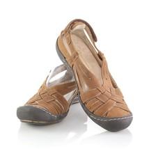 Jambu Terra Fusion Scorpio Brown Leather Sandals Flats Shoes Closed Toe Womens 6 - $29.54
