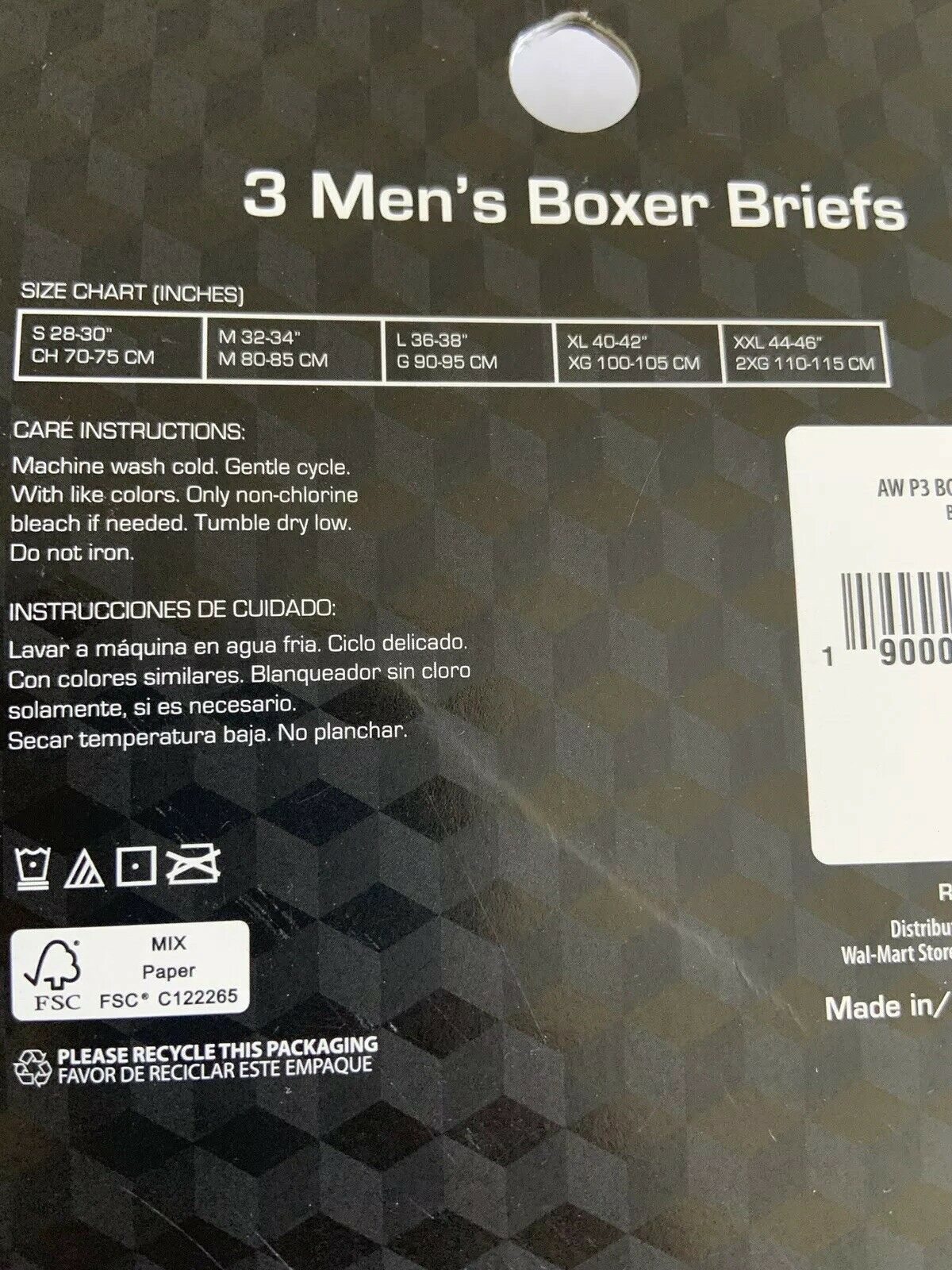 "Athletic Work 3pk Men Boxer Briefs Black Sz XL - Tagless Moisture Wick 6"" inseam"