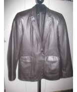 DKNY LADIES BLACK TAILORED SOFT LEATHER LINED 1-BUTTON JACKET-10-BARELY ... - $22.00