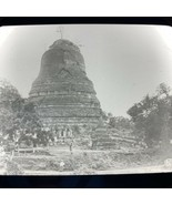 Vtg Magic Lantern Glass Slide Photo Old Pagoda In India - $14.20