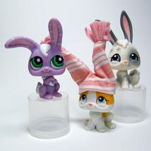 Littlest Pet Shop # 18, 75 & 828 Bunny RABBIT White Grey, Orange, Purple Trio - $10.00
