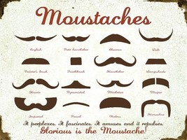 Moustaches Guide Hipster Metal Sign - $19.95
