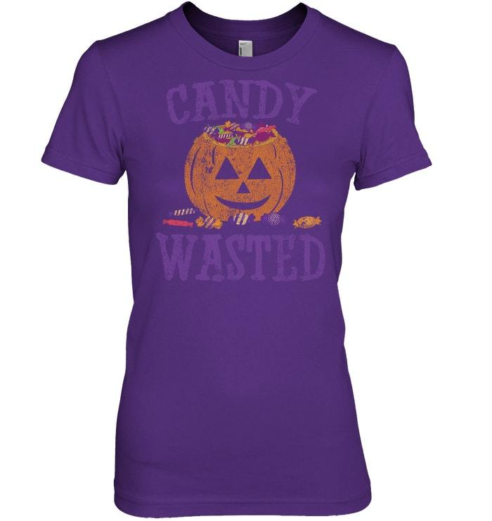 Funny Halloween Tshirt Candy Wasted Trick Treat Vintage
