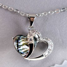 Storrs Wild Pearle Abalone Shell 2 Hearts 3D Love Pendant Silver Tone Necklace image 2