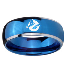 Ghostbusters 8mm Two Tone Blue Dome Tungsten Carbide Ring - $39.99