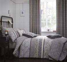 gebändert Blumenmuster Blätter dunkelgrau beige Doppelbett Bettwäsche & ... - $134.46