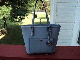 Michael Kors Jet Set Medium Snap Pocket Tote Pale Blue Leather NWT Gift ... - $158.39