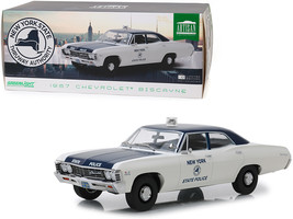 """1967 Chevrolet Biscayne Cream and Blue \""""New York State Police\"""" 1/18 Di... - $90.98"""