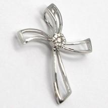 Cross Pendant White Gold 750 18K, Diamonds, Flower, Wavy, Made in Italy image 1