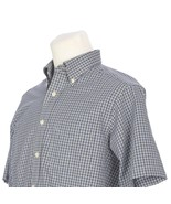 LL Bean Blue Black White Check Button Down Short Sleeve Casual Shirt Men... - $24.65