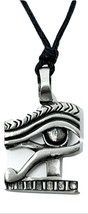 Egyptian Eye of Horus Ra Pendant on Adjustable Black Cord Necklace Pewte... - $6.01