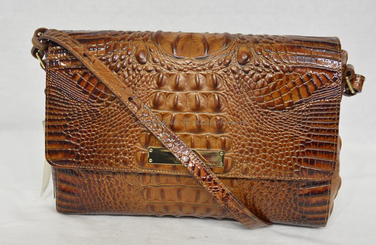Primary image for NWT! Brahmin Thea Shoulder Bag in Toasted Almond Melbourne Croc-Embossed Leather
