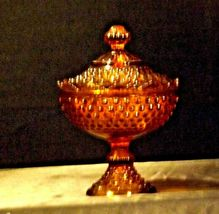 Amber glass diamond point footed compote-candy dish AA19-1601 Vintage image 9