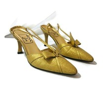 Touch of Nine Womens Size 9 N Narrow Gold Sparkly Slingback Pointed Toe Heels - $13.98