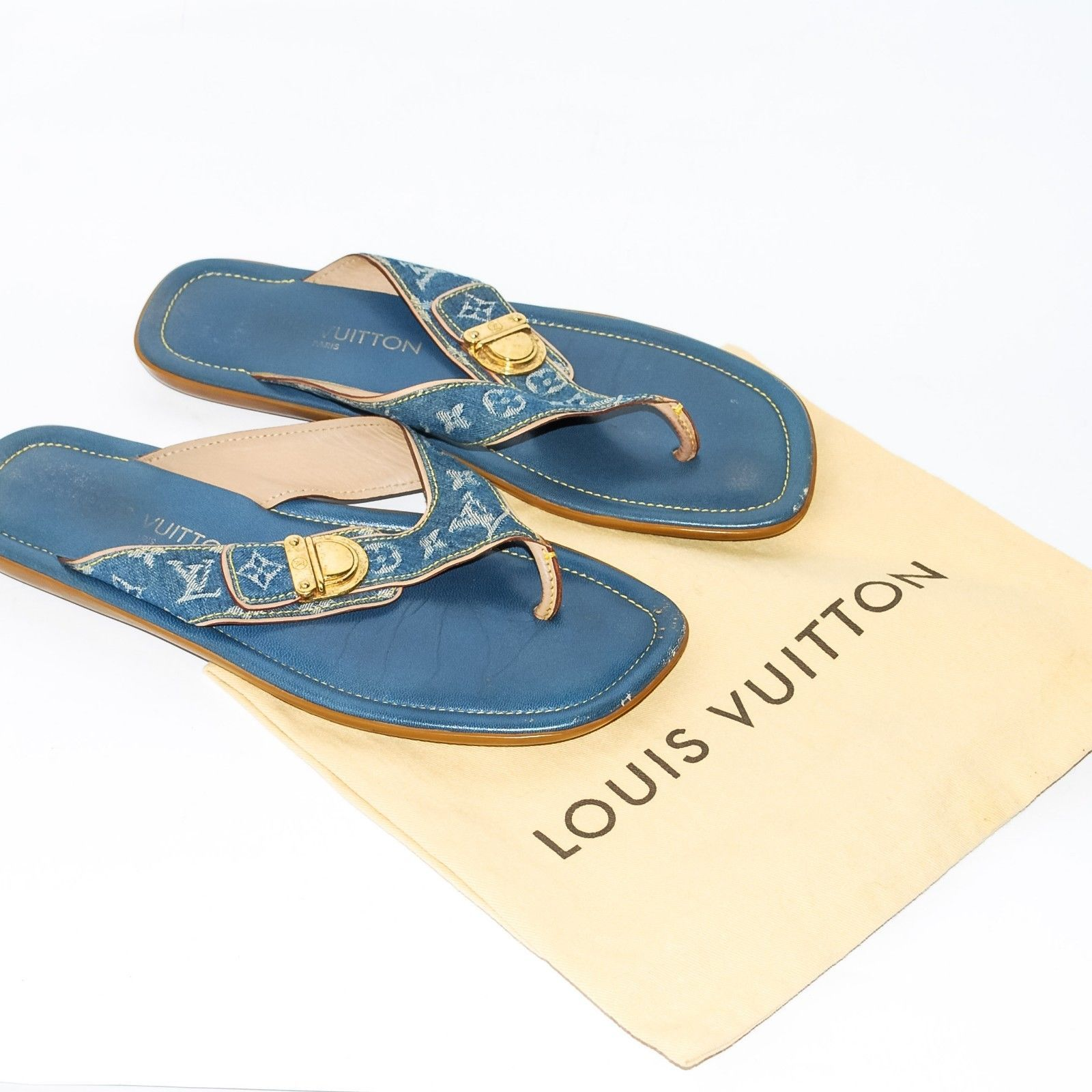5997405068c S l1600. S l1600. Previous. LOUIS VUITTON Jean Leather Thong Flat Sandals  Block Heel Beach Shoes ...
