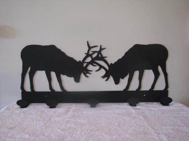 Fighting Elk Coat Rack Metal Wall Art Wildlife Silhouette