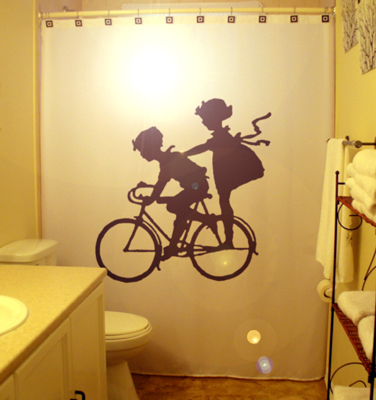 Children on bicycle shower curtain  100