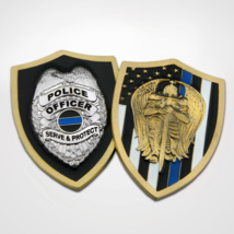 """ST. MICHAEL POLICE OFFICER 2"""" SHIELD SERVE AND PROTECT  3D CHALLENGE COIN - $18.04"""