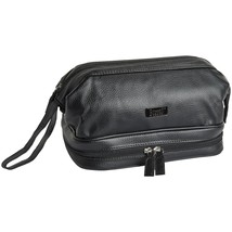 NEW BUXTON TOP ZIP TOILETRY SHAVE KIT WITH TSA COMPLIANT BOTTLES BLACK - $29.65