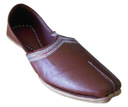 Men Shoes Jutties Indian Leather Espadrilles Patiala Mojari Leather Brown US 8  - $39.99