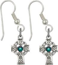 Earrings  Celtic Cross Emerald - Fish Wire - Sterling Silver