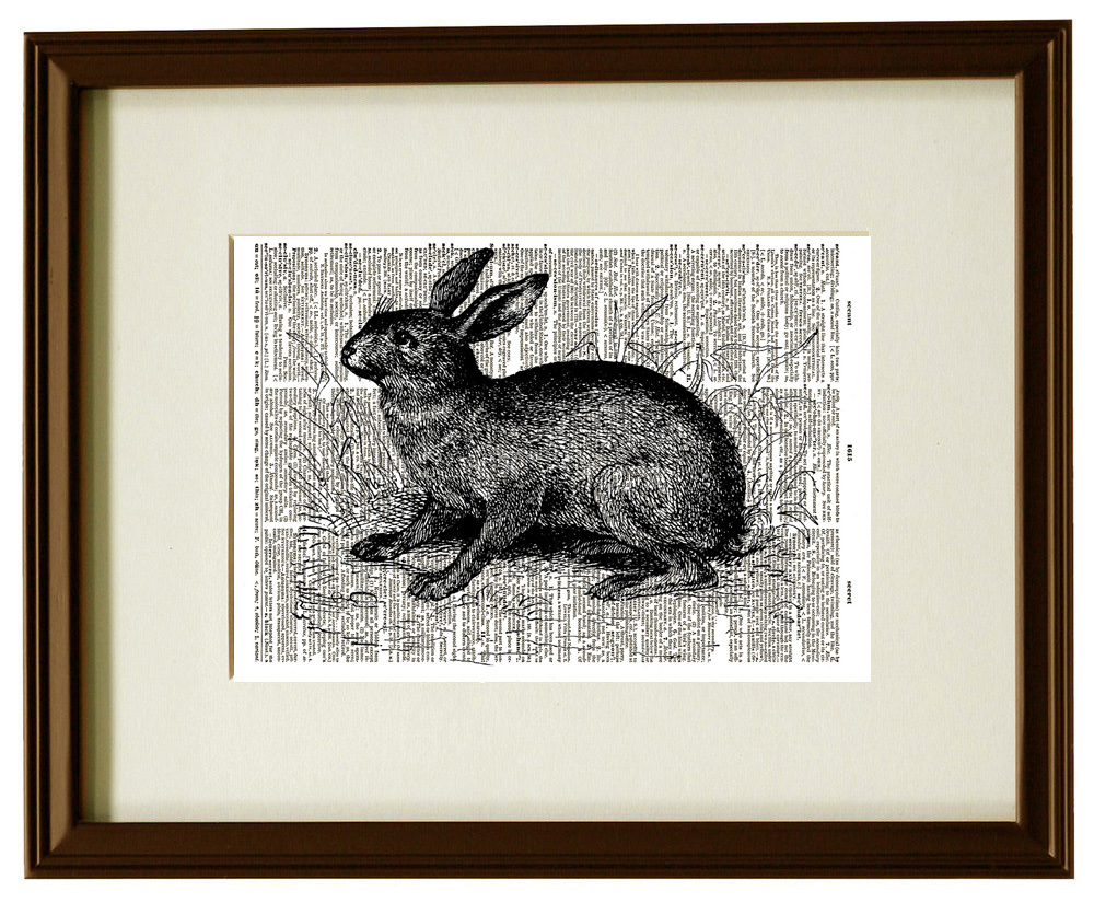 Rabbit Hare Forest Animal Vintage Dictionary Art Print No. 0188