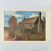 """Vintage C.L Haney Art Print Lithograph The Old Homestead Cabin 14.5"""" x 21"""" - $20.90"""