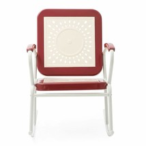 Retro Vintage Style Red White Metal Patio Rocking Chair Outdoor Furniture  - $126.47