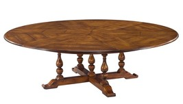 """100"""" Jupe Dining Table Ex Large Solid Walnut Old World Finish Hidden Leaves - $5,166.81"""