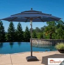 New Garden Sun Umbrella Parasol in INDIGO Patio Shade Aluminium Wood Effect - £194.76 GBP