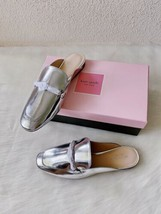 ✨New KATE SPADE Laura Metallic Leather Mules Silver Womens Size 8.5M $19... - $88.18