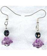 Spring Flower Purple Black Glass Earrings - $9.99