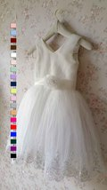 Cute White Tulle A-line Girl Dress Custom Wedding Flower girl Dress Custom  image 2