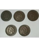 Lot of 5 U.S. Indian Head Pennies - 1893-1908 - $23.95
