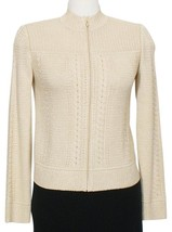 ST. JOHN Gold Shimmer Wool Blend Mixed Stitch Knit Cardigan Jacket P XS NEW - $299.99