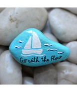 Hand Painted Rock Sail Boat Ship Go with the Flow Nautical Ocean Pebble ... - $14.65