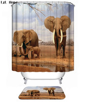 Funny Animal Elephant 53 Shower Curtain Waterproof Polyester Fabric & Bath Mat  - $15.30+