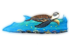 Sea Turtle Carved from large Palm Tree Frond tortoise animal nautical pa... - £60.96 GBP