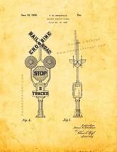 Railway Crossing Signal Patent Print - Golden Look - $7.95+