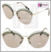 MIU MIU Overlapping Game 53S Light Green Gold Mirrored Round Sunglasses MU53SS - $197.01