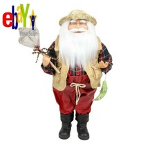 18 In. Rustic Lodge Fisherman Santa Claus With Net And Fish Christmas Ta... - $70.60