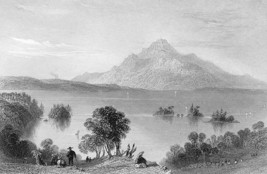 CANADA Lake Memphremagog & Orford Mountain - Steel Engraving Print - $14.16