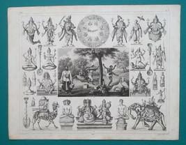 INDIA Mythology Gods Deities Vishnu Siva Penitents - SUPERB 1844 Antique... - $24.84