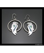PARROT Vintage Sterling Silver Dangle EARRINGS with Turquoise Inlay - ME... - $45.00