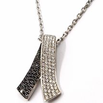 18K WHITE GOLD NECKLACE HUG BOW PENDANT WHITE BLACK DIAMONDS, DIAMOND CUT CHAIN image 6