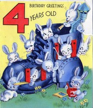Cute Baby Bunnies in a Shoe Vtg Greeting Card Birthday 4 Years Old 2 Images - $7.80